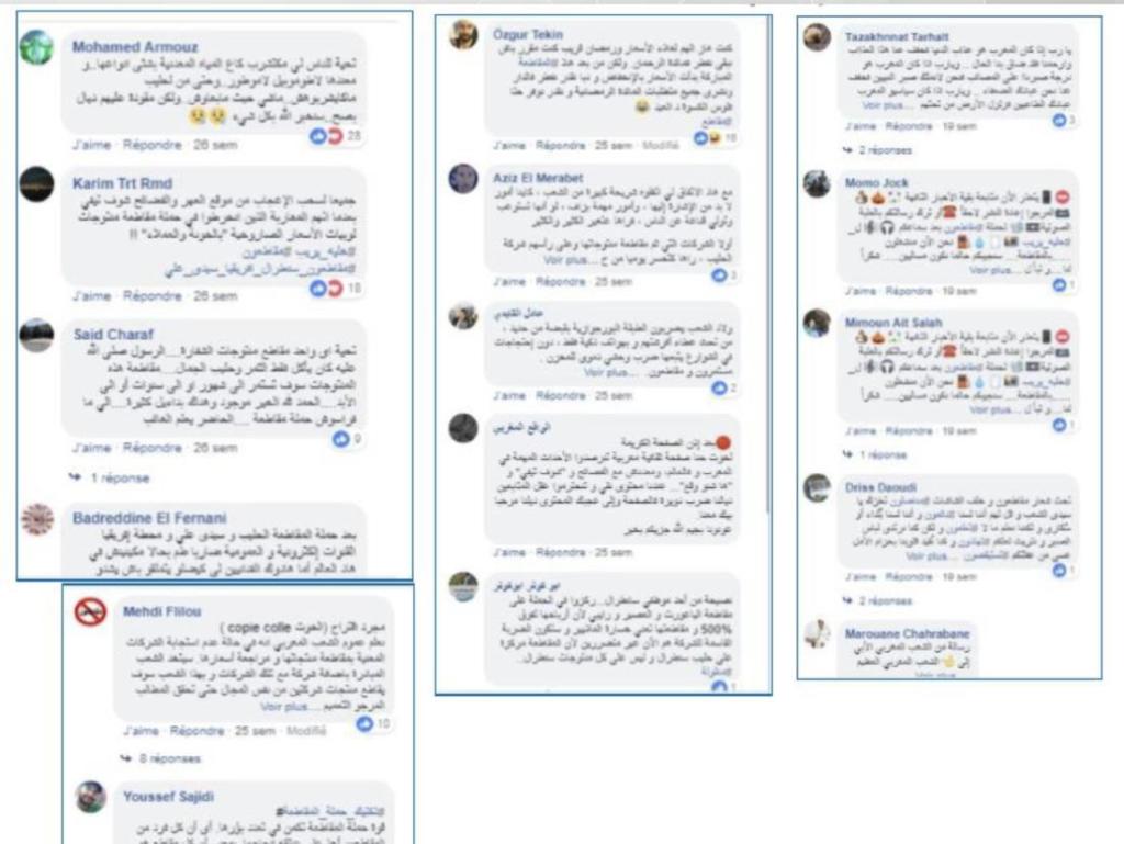 """Commentaires créés par des """"bots"""" sur Facebook lors du boycott au Maroc en 2018"""
