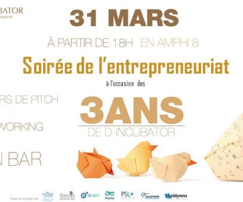 Come on March 31st to help D-INCUBATOR celebrate its first 3 years!