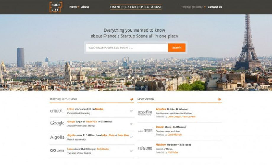 Announcing Rude List – France's Startup Database – a database of startups, founders & funders in France.