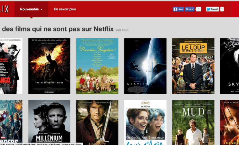 Notflix.fr shows films that are available only on Netflix's competitor's service