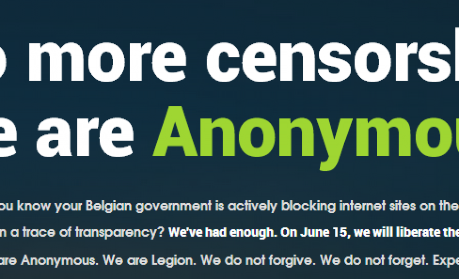 Anonymous targets the Belgium Government with accusations of government censorship