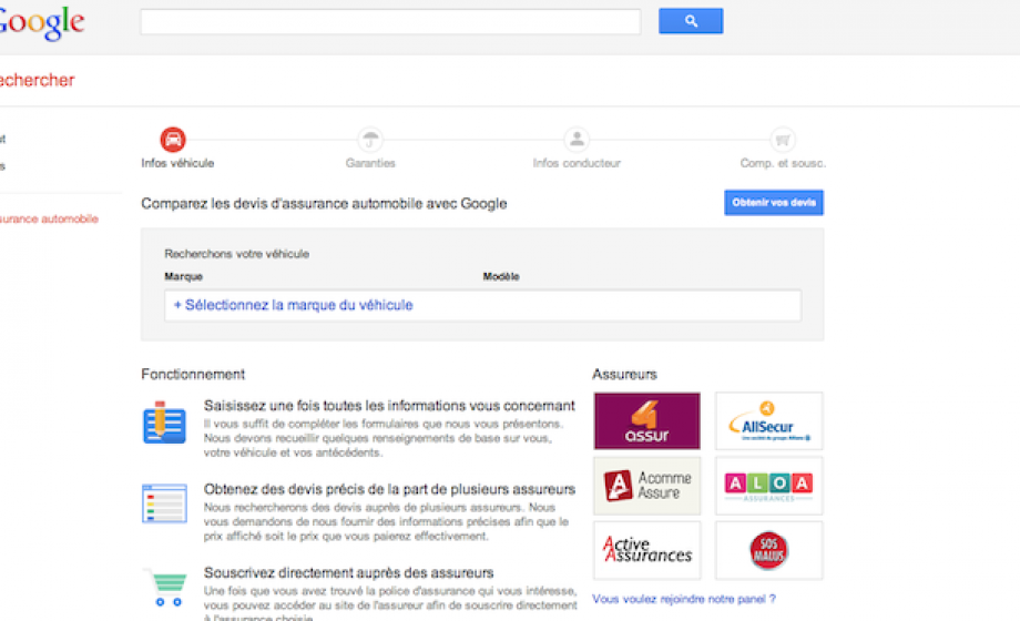 Google launches a price comparison service for car insurance in France